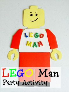 Last year, Carter had a Lego birthday party, and I've been sharing all of our Lego party ideas. Today's feature is this Lego Man craft, using foam stickers.
