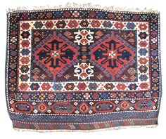 Kurdish bagface.  From NW Iran, late 19th century.  Fragment of (a pair of) saddle bags (for a horse), 99 x 106.5 cm.