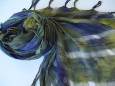 Navy Blue and Olive Green Soft Sheer Open Weave Fringed Hand Dyed Scarf olive mlou olivemlou olive m'lou