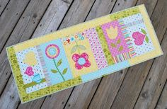 Bella Blvd Summer Breeze fabric collection. Summer table runner by DT member Kathy Frye.