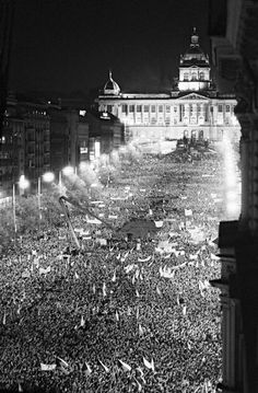 November 1989 in Prague when 300000 demonstrators protested the communist regime. Prague Spring, Prague Czech Republic, Old Town Square, Old Photography, Central Europe, Old Photos, Places To Travel, Retro, In This Moment