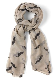 Mustachioed to Joy Scarf in Ivory | Mod Retro Vintage Scarves | ModCloth.com   - So cool!