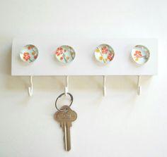 Blue Cherry Blossoms Key Hook Key Rack Key Holder by TannerGlass