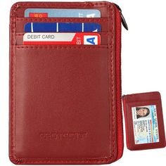 RFID Blocking Sleeves Front Pocket Leather Wallet for Women, RFID Safe Sleeve Mini Card Holder with Zipper and ID Window, Genuine Leather Durable Slim Convenient Wallets, Stopping RFID Scans Rfid Blocking Wallet, Rfid Wallet, Leather Front Pocket Wallet, Leather Wallet, Best Slim Wallet, Credit Card Wallet, Credit Cards, Branded Wallets, Money Clip Wallet