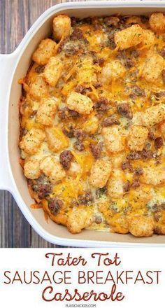 This Tater Tot Breakfast Casserole Has Super Creamy Eggs, Bacon And 2 Kinds Of Cheese! It's Easy To Make Ahead Of Time And Is Perfectly Freezer-friendly!. Tater Tot Breakfast Casserole, Breakfast Casserole Sausage, Breakfast Bake, Morning Breakfast, Breakfast Ideas, Chicken For Breakfast, Apple Breakfast, Overnight Breakfast, Breakfast Waffles