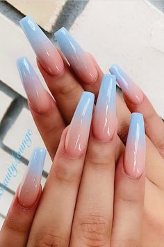 If you want cute ombre nails that suit summertime in 2019 then check our cherry-picked ombre acrylic nails between purple, blue, yellow, and pink ombre nails. Acrylic Nails Coffin Ombre, Simple Acrylic Nails, Square Acrylic Nails, Coffin Shape Nails, Summer Acrylic Nails, Simple Fall Nails, Blue Coffin Nails, Nails Ideias, Purple Ombre Nails