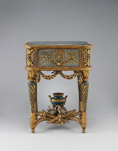 Stand (piètement) for a model of La Samaritaine Maker: Jean-Baptiste Vinceneux (ca. active Date: 1773 Culture: French, Paris Medium: Carved, painted, gilded and silvered walnut; French Style Furniture, Beautiful Furniture, Furniture, Pretty Furniture, Neoclassical Furniture, Minimalist Chair, Furniture Styles, Rococo Furniture, Gilded Furniture
