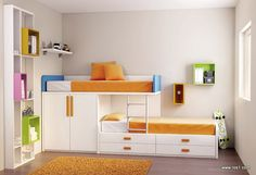 Loft bed sister room decoration - new site Bunk Beds With Storage, Kids Bunk Beds, Bedroom Storage, Sister Room, Modern Bunk Beds, Childrens Beds, Loft Spaces, Room Decor, Decoration