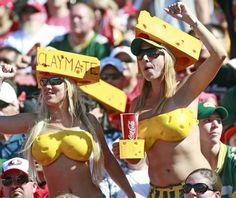 2013 NFL Fans - Photos - UPI.com: Cheese heads and Clay Matthews fans celebrate during play between the San Francisco 49ers and Green Bay Packers at Candlestick Park in San Francisco on September 8, 2013.The 49ers defeated the Packers 34-28. UPI/Bruce Gordon