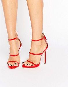 Red strappy heeled sandals #promheelsstrappy #promshoesstrappy #strappysandalsheels