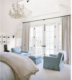 In my future master bedroom I would love both french doors and a chandellier . {drapes on french doors} French Door Windows, French Doors Bedroom, French Door Curtains, Bedroom Windows, Windows And Doors, Curtains Sliding Glass Door, French Doors With Curtains, Blinds For Sliding Doors, Exterior French Doors