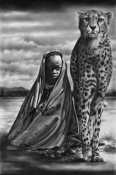 """""""Common Ground"""" by Peter Williams. A graphite pencil drawing of a cheetah and an African child by Peter Williams. My idea is to highlight the common problems of the mostly endangered wildlife of Africa and the indigenous people who live alongside them."""