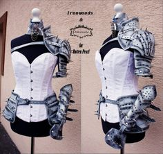 SET of Natural leather  silver  spiked armor and hips elements
