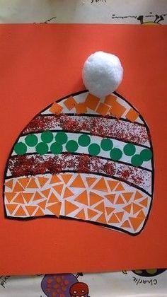 Bonnet en mosaïque et pompon, Preschool Christmas, Christmas Crafts For Kids, Xmas Crafts, Summer Crafts, Winter Crafts For Toddlers, Winter Activities, Toddler Crafts, Winter Fun, Winter Theme