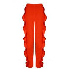 Juan Carlos Pajares Frill Cutout Trousers (5,920 MXN) ❤ liked on Polyvore featuring pants, orange, cut-out pants, cutout pants, red trousers, red ruffle pants and holiday pants