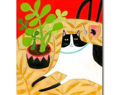 Original Cat painting CAT on table with Succulent Plant acrylic painting black and white cat folk art by artist Tascha 8 x 10