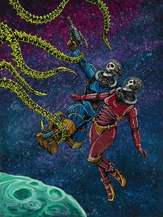 Clash in the Cosmos by David Lozeau Astronauts Sci Fi Canvas Art Print – moodswingsonthenet