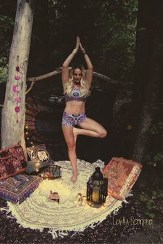 Namaste Gypsies ☽ ✩ Featuring Lady Scorpio Tapestries & Decor + Wolven Threads Yoga Wear • Blog by Alexa Halladay •   Mandala Tapesty Moon Phase Wall Hanging Shop Now LadyScorpio101.com   @LadyScorpio101   Photography by Luna Blue @Luna8lue   Everwear Jewelry on Etsy • Fitness Model Erica Brazil