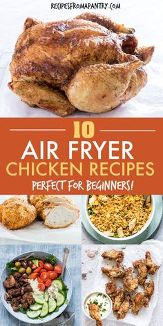 These 10 Air Fryer Chicken recipes are all super quick easy and healthy! From wings breasts and thighs to shawarma fr. Easy Potluck Recipes, Lunch Recipes, Healthy Dinner Recipes, Appetizer Recipes, Easy Meals, Summer Recipes, Air Fryer Recipes Vegan, Air Fryer Dinner Recipes, Chicken Breast Recipes Healthy