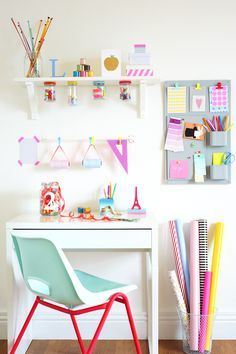 mixing neon and pastel / colourful workspace - featured in issue 4 of 91 Magazine