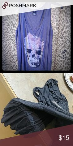 Skull tank top Flowy comfy and sides are open MIDNIGHT HOUR Tops Tees - Long Sleeve