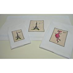 LOVE!  For my Paris bathroom...just the towers though...@Overstock - This Sherry Kline Paris towel set features a Paris theme embroidery that coordinates with embellishments in pink. The set includes one bath towel, one hand towel and one fingertip towel.http://www.overstock.com/Bedding-Bath/Paris-Embroidered-3-piece-Decorative-Towel-Set/6910460/product.html?CID=214117 $29.49