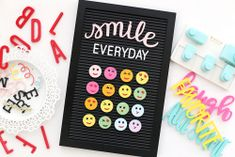 Emoji Letterboard Wall Decor by Eva Pizarro for We R Memory Keepers Letterboard Signs, Envelope Punch Board, We R Memory Keepers, Reasons To Smile, Diy Box, Pretty Good, Hello Everyone, Emoji, Letter Board