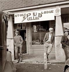 October 1939. Tavern on main street of potato town during harvest season. Merrill, Oregon.  Photo by Dorothea Lange.
