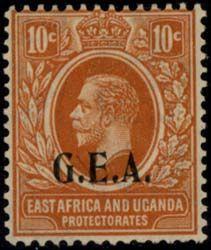 Для почтовых марок на территории юго-западной Танганьики были использованы марки Британского протектората Ньясаленда (NYASALAND PROTECTORATE) на которых были сделаны надпечатки N.F. (вооруженные силы Ньясаленда - Nyasaland Force), или G.E.A.