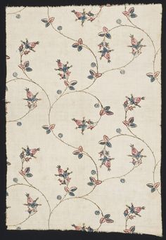 Textile, block printed cotton, 1775-1800, United States