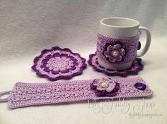 Crochet Cup Cozy and Coaster  Cup Cozy with by LilsShabbyShop