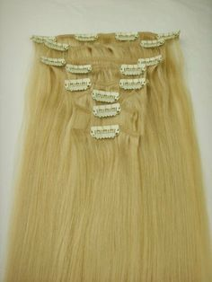 "8 Pieces 19-20"" Ash Blonde #16 Clip on in 100% Human Hair Extensions 100 Grams by MyLuxury1st. $73.99. SHIPS IN 6-10 BUSINESS DAYS! IF YOU CAN NOT WAIT; DO NOT ORDER; QUESTIONS? CONTACT MYLUXURY1ST HAIR EXTENSIONS"