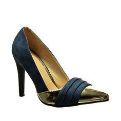 Angkorly Damen Schuhe Pumpe - Stiletto - Sexy - BI-Material - Golden Stiletto High Heel 10 cm - Blau C61-02 T 36 CUcnULrXx