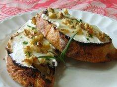chèvre toasté with a drizzle of honey and chopped walnuts