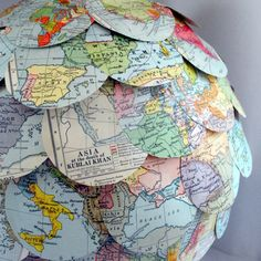 Etsy Adventurers Lamp Shade Vintage Map Paper Lantern Hanging Pendant Light Eco Home Made to Order Paper Lampshade, Lampshades, Hanging Lamp Shade, Map Globe, Lantern Lamp, Vintage School, Hanging Pendants, Vintage Maps, Paper Lanterns