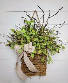 Tea Leaf Greenery Door Hanger Basket
