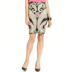 INC International Concepts Skirt, Paisley-Print Pencil ($59) ❤ liked on Polyvore