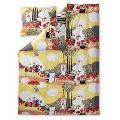 Rose Moomin yellow duvet cover 150 x 210 cm by Finlayson - The Official Moomin Shop  - 1