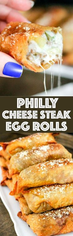 Philly Cheese Steak Egg Rolls are a fun spin on America's favorite sandwich! Beef, cheese, peppers, and onions wrapped into the party snack!