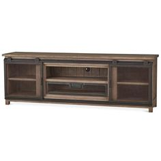 Not enough room for a full media cabinet? Try a media console instead! This Harrington is one of our newest styles! Small Furniture, Living Furniture, Furniture Making, Rustic Furniture, Plasma Tv Stands, Metal Bar Cart, Tv Stand Set, Tv Stand Cabinet, Hickory Wood