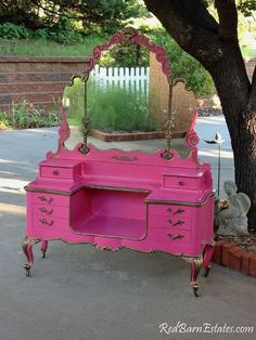 Stunning shabby chic vanity with mirror. Glam hot pink dresser! Love it! Click pic to visit RedBarnEstates site