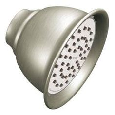 "Brushed nickel one-function 4-3/8"" diameter spray head eco-performance showerhead showerhead"