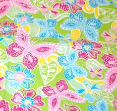 """Butterfly sewing fabric butterflies leaves flowers David Textiles cotton 28"""" L  #DavidTextiles"""