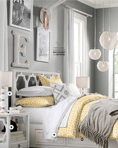 White teenage girl bedroom furniture Bedroom Decor Colors Bedding Walls Gray Bedroom Walls Grey Walls Amber Room Loft Pinterest Color Combination Is Pretty Light Yellow Bedding And Grey Walls