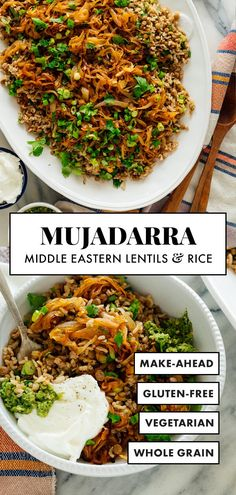 Mujadara (Lentils and Rice with Caramelized Onions) - Cookie. - Mujaddara is a classic Arabic recipe featuring cooked lentils and rice, caramelized onions, herbs and yogurt. It's a delicious vegetarian main dish! Indian Food Recipes, Vegan Recipes, Cooking Recipes, Ethnic Recipes, Arabic Recipes, Vegetarian Rice Recipes, Lentil And Bacon Recipes, Bread Recipes, Hardboiled