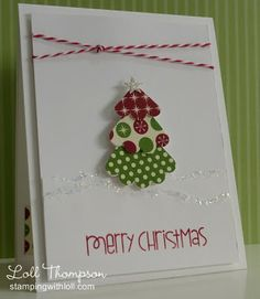 Frugal Christmas Challenge love the use of the scalloped die to make the tree layers.  Twine is a great accent too.