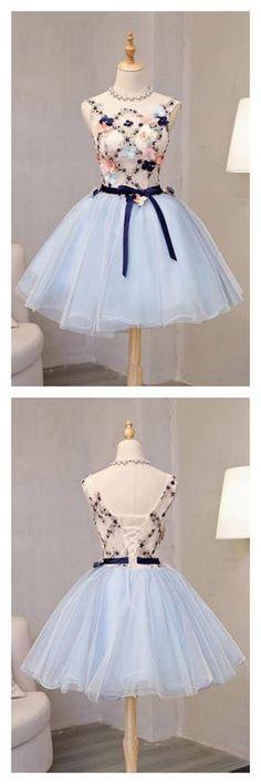 dresses for teens Vintage Light Blue Flower Short Princess Homecoming Dress Party Dresses,Applique Bead Tulle Homecoming Mini Dress Dresses For Teens, Trendy Dresses, Elegant Dresses, Cute Dresses, Vintage Dresses, Beautiful Dresses, Short Dresses, Fashion Dresses, Vintage Prom