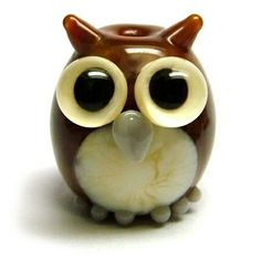 'Owl' lampwork glass bead by Laura Sparling