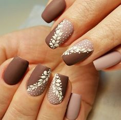 Unhas-Com-Desenhos unhas decoradas diferentes, unhas decoradas delicadas, unhas delicadas, Cute Easy Nail Designs, Hot Nail Designs, Winter Nail Designs, Beautiful Nail Designs, Beautiful Nail Art, Stunningly Beautiful, Beautiful Hands, Brown Nail Designs, Winter Nail Art