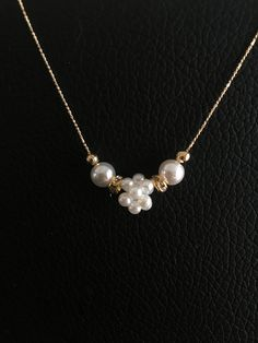 pearl ball gold chain necklace.